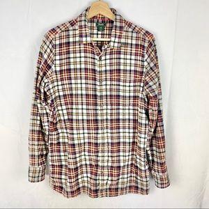 ROOTS men's plaid flannel button down SZ M